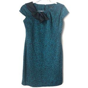 Blu Sage Bow Accent Short Sleeve Dress Blue 4P
